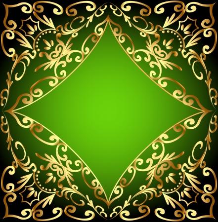 ornamentation: illustration green background frame with gold ornamentation Illustration