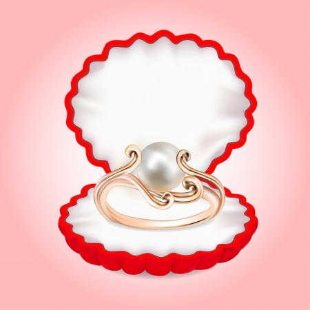ring ruby: illustration of a ring with pearls in the red box Illustration