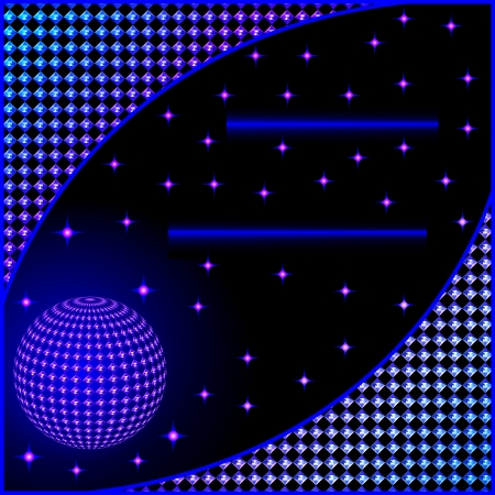 illustration of a digital background with stars and a ball Vector