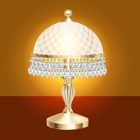 illustration of a table lamp with crystal pendants