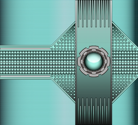 stainless steel background: illustration technical background with metallic rivets and glass ball