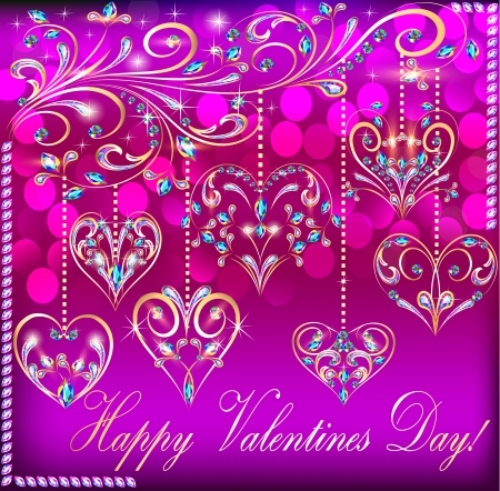illustration of a postcard on Valentines day with the heart of a suspended on a gold ornament Vector