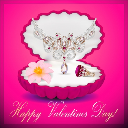illustration of a postcard on Valentines day with a necklace ring flower and a box of Vector