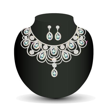 viso: ilustraci�n de un collar y pendientes de oro con piedras preciosas mujeres blancas