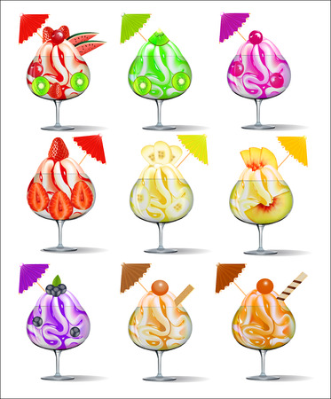 illustration of a set of ice-cream with fruits in a glass goblet Vector