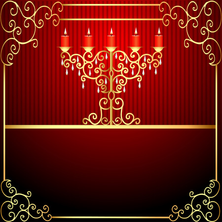 illustration background with burning candles and gold ornamentation Vector