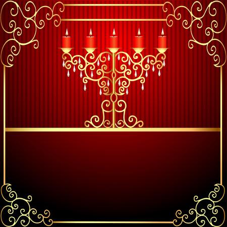 ornamentation:   illustration background with burning candles and gold ornamentation Illustration