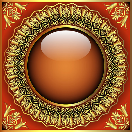 gold en: illustration abstract background with glass ball and gold en  pattern
