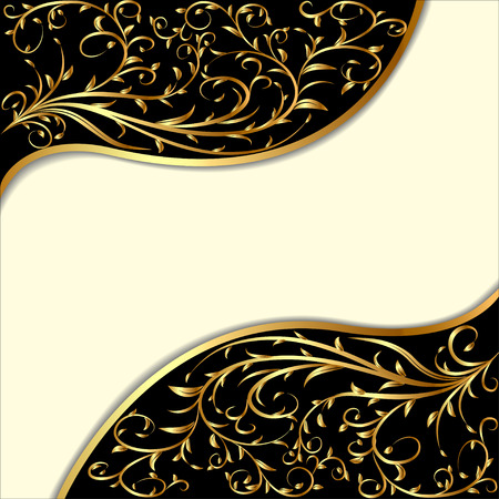 scroll border: illustration background with gold ornament and waves