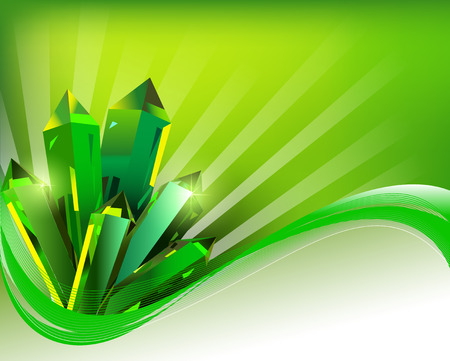 illustration background transparent green mineral crystals in the wake of lines Vector