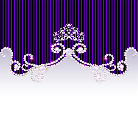 aristocratic: illustration vintage background with crown and jewels Illustration