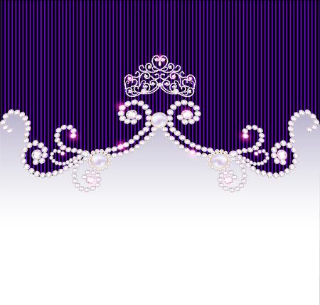 illustration vintage background with crown and jewels Illustration