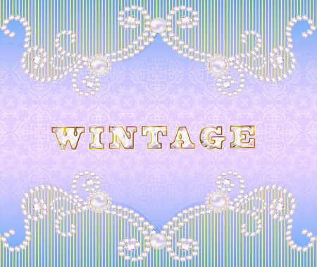 illustration Vintage background with ornament made ​​of precious stones Vector
