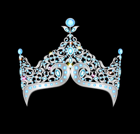 illustration women silver crown on a black background Vector