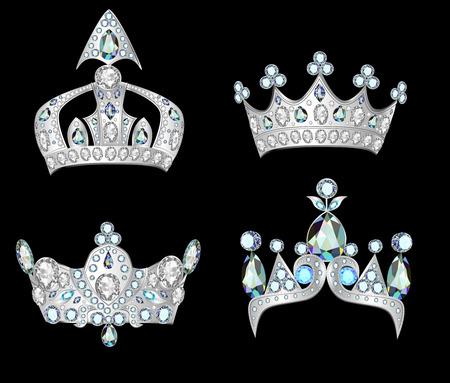 illustration set silver crowns on black background Vector