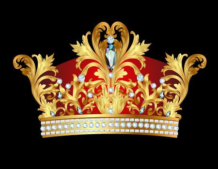 corona de rey: ilustración de la corona real de oro con piedras preciosas