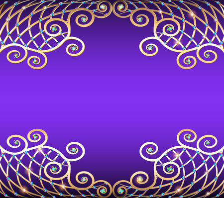 Background illustration with precious stones, golden ornament and stars