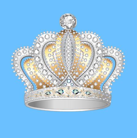 decoratieve kroon van goud zilver en edelstenen Stock Illustratie