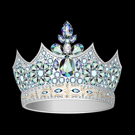 illustrations decorative crown of silver and precious stones Vector