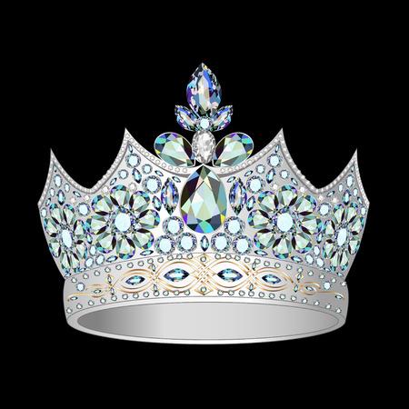 pietre preziose: Illustrazioni decorativo corona di argento e pietre preziose