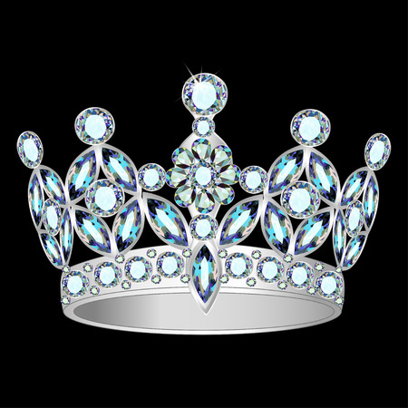 beauty queen: illustration women silver crown on a black background Illustration