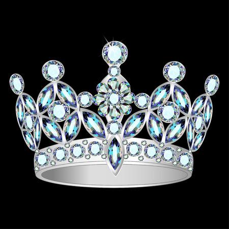 illustration women silver crown on a black background 向量圖像