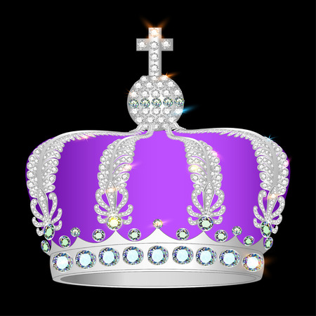 shiny crown of silver platinum and precious stones Vector