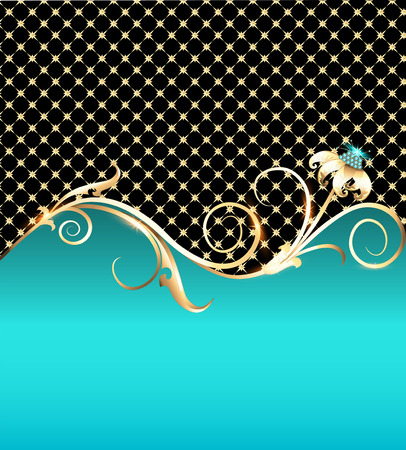 star shaped: illustration background with gold flower and precious stones