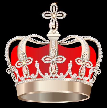 corona rey: ilustraci�n corona con perlas y cruces sobre fondo negro Vectores