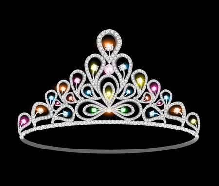 illustratie kroon tiara vrouwen met glinsterende edelstenen Stock Illustratie