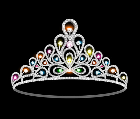 illustration crown tiara women with glittering precious stones Vector