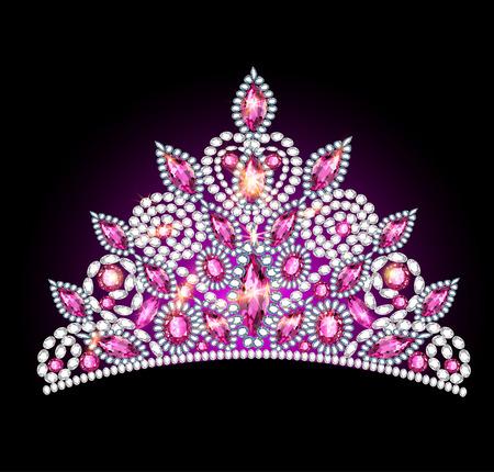 illustration crown tiara women with pink gemstones Illustration
