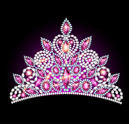 illustration crown tiara women with pink gemstones Illustration