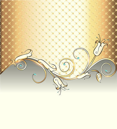 fashion jewelry: illustration gold background with  flower and precious stones