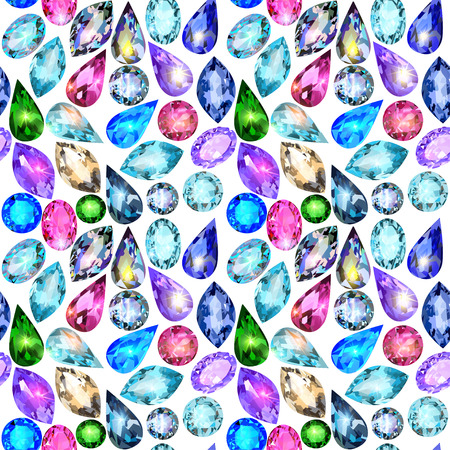 illustration seamless background with glittering precious stones Vector