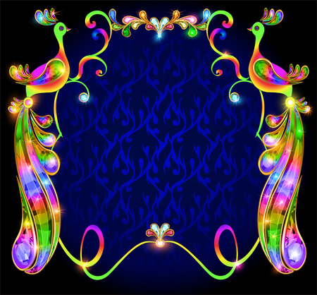 illustration background with bright decorative peacocks with precious stones Vector