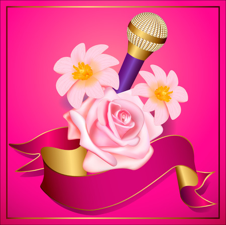 retro party flyer or poster template with microphone and flowers Vector