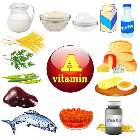 cod liver: illustration vitamin a and plant and animal products Illustration