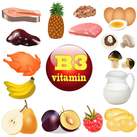 illustration of three vitamin B. The origin of the plant foods in Vector
