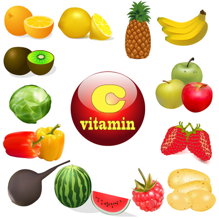 vitamin c: illustration vitamin C in foods of plant The origin of the