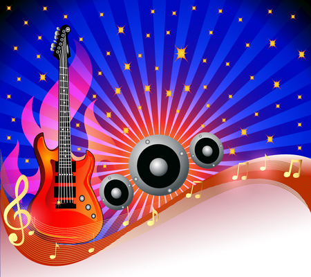 amongst: illustration background with guitar and row amongst stars