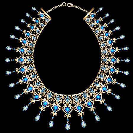 ilustración collar azul hembra con piedras preciosas