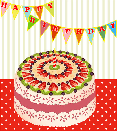 illustration of a birthday cake with kiwi and strawberries Vector