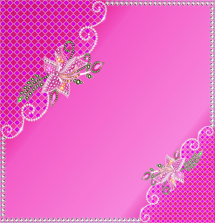 illustration background frame with flowers made of precious stones and the grid Illustration