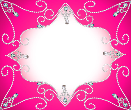 pearl necklace: illustration background frame with ornament with pearls and precious stones Illustration