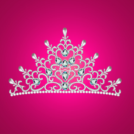 illustration of a woman with tiara crown jewels on pink Vector