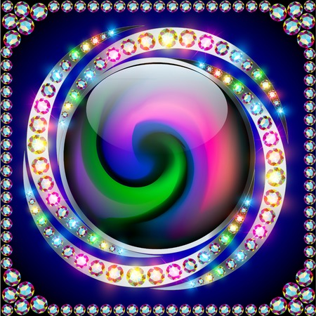 illustration background rainbow circle with precious stones on a spiral