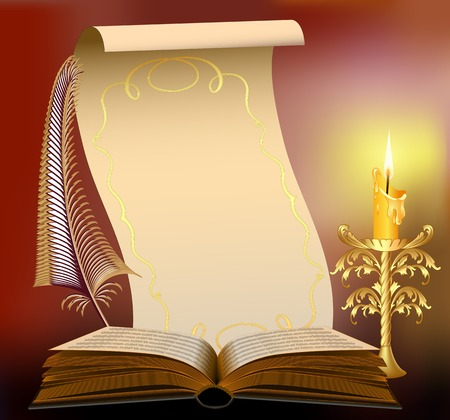 magic book: book illustration with burning candle and feather papyrus Illustration