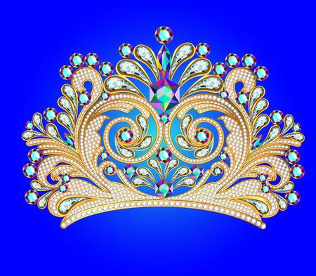 corona reina: ilustraci�n femenina decorativa corona de la tiara con joyas Vectores