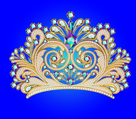illustration feminine decorative tiara crown with jewels